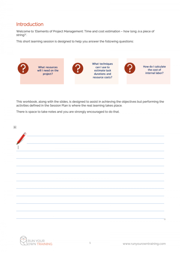 Project Planning - Workbook Introduction